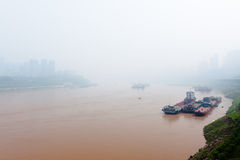 City in fog. Morning fog in the Chongqing city Royalty Free Stock Photos