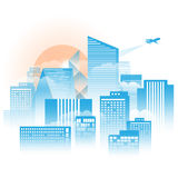 City with fog and clound in the moring sunshine. The vector of City with fog and clound in the moring sunshine vector illustration