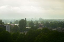 City in the fog with a height royalty free stock photo