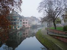 City in the fog, Strasbourg. City in the fog, beautiful scenery, beautiful houses in Europe, fog in the city, the city stands on the river, river in the city Stock Image