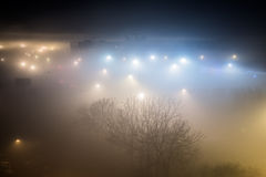 City on a foggy night Stock Photo