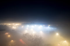 City on a foggy night Stock Image