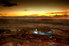 City with football stadion. Epic sunset over city with football stadion Royalty Free Stock Photo