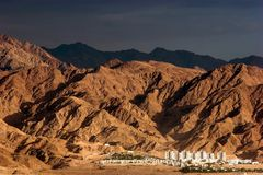 City at foothill in Israel. City at foothill view from Eilat-Red Sea, Israel royalty free stock photography