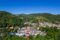 City in the forest mountain. Tachileik myanmar aerial view from Wat Phra That Doi Wao  Black Scorpion Temple, Thailand Stock Photos