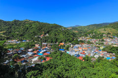 City in the forest mountain. Tachileik myanmar aerial view from Wat Phra That Doi Wao  Black Scorpion Temple, Thailand Stock Photo