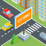 City Format. Urban Crossroads with Cars and Houses. Pedestrians. Town street view 3d design concept with buildings, markings, road signs and traffic. Part of Royalty Free Stock Photography