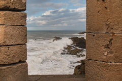 City fortification and the ocean, Essaouira, Morocco Royalty Free Stock Image