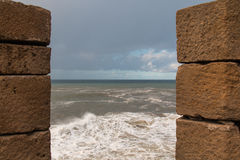 City fortification and the ocean, Essaouira, Morocco Stock Photo