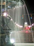 City Fountain. A view down a city street royalty free stock images
