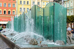 City fountain. In the center of Wroclaw Poland Stock Photo