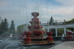 City fountain. In Novokuznetsk, located in the city center in the garden of Metallurgists, spring royalty free stock photography