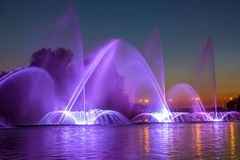 City Fountain with Evening Illumination royalty free stock image