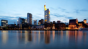 City Frankfurt, Germany. Frankfurt business district at night from the river Main. Germany royalty free stock photography