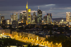 City Frankfurt am Main , Germany at night. Royalty Free Stock Photos