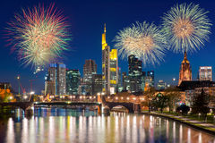 City of Frankfurt am Main  at night with firework New year Stock Photography