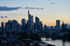 City Frankfurt am Main Skyline at dusk. City Frankfurt am Main Skyline in the evening at dusk with skyscrapers Stock Image