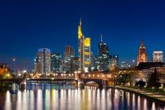 City of Frankfurt am Main skyline at night, Frankfurt, Germany. Stock Image