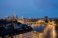City of Frankfurt am Main skyline at night, Frankfurt, Germany. Royalty Free Stock Photos
