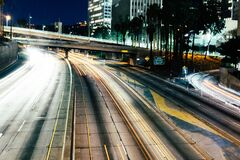 City freeway at night royalty free stock images