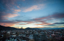 City of Freiburg after sunset Royalty Free Stock Images