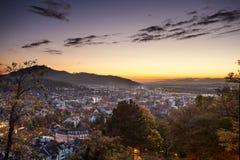City of Freiburg at sunset Stock Photos