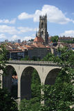City of Fribourg Switzerland. Photo of the bridge and church tower from the city of Fribourg in Switzerland stock images