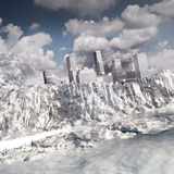 City on the frozen cliff. Landscape with city, mountain and frozen ocean Royalty Free Stock Image