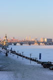 City on the the frozen river Stock Image