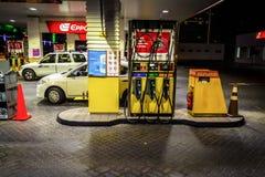 City fuel station. Dubai, UAE - November 30, 2018: Dubai`s Eppco city gas station at night royalty free stock image