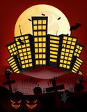 City and full moon vector Illustration with building, cemetery,bat, pumpkin Royalty Free Stock Image