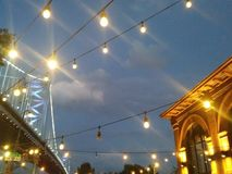 City fun with Bridge and Building. City sights at dusk royalty free stock photography
