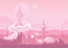 City of the future on another planet and rocket blasting off. Space colony, human settlement on Mars. Vector Royalty Free Stock Photos