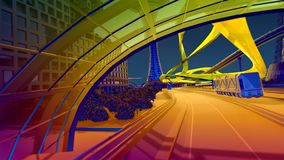 City of the future. Color mix. Modern city of the traffic. Animation.