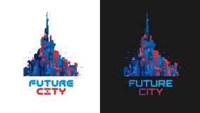 The city of the future. Futuristic city. Banner. Creative idea Future city Logo. The city of the future Stock Photo