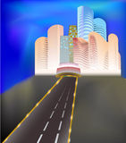 City of the future. Shining panorama of modern city with highway in the foreground Stock Images