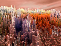 City of the future, skyscrapers, science fiction Stock Photos