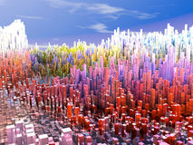City of the future, skyscrapers, science fiction. Abstract Stock Photos