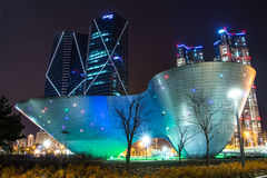 City of the Future Songdo. South Korea in night stock photography