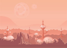 The city of the future, a space colony. Human settlement with futuristic buildings on Mars. Vector illustration. The city of the future, a space colony. Human Stock Photo