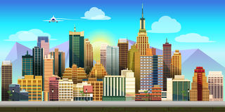 City Game Background. Game background 2d game application. Vector design. Tileable horizontally. Size 1024x512. Ready for parallax effect Stock Photos