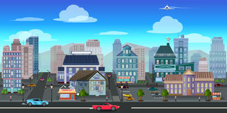 City game background 2d game application. Vector design. Royalty Free Stock Photos