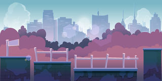 City game background, 2d game application. Vector Illustration for your application Stock Photos