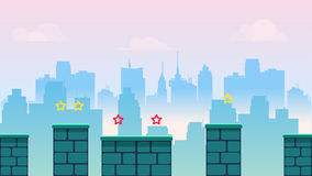 City game background, with different platforms and separated layers for games.Vector illustration for your design. size vector illustration