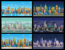 City Game Backgrounds Set ,2d game application. Royalty Free Stock Photography