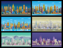 City Game Backgrounds Set. With retro cars ,2d game application . Royalty Free Stock Image