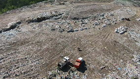 City garbage dump from a bird`s eye view stock footage