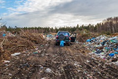 At the city garbage dump. The official garbage dump of the village Royalty Free Stock Photo