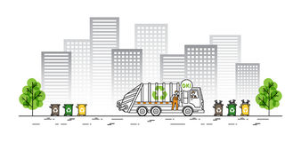 City garbage truck vector illustration Stock Photography