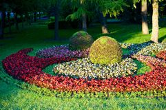 City Garden. The city park city of Stavropol is a fine example of art park. Flower carpets in different colors and shapes, striking in its beauty Stock Images
